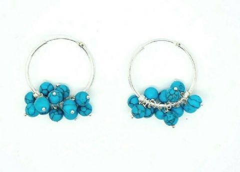 Genuine 925 Sterling Silver 26mm Medium Size Hoops with Turquoise or Pearl Beads